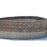 Spids skål med håndtag i grå ler, højde 4 cm
